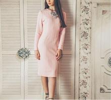 JOYINPARTY vintage women's long sleeves knee-length dresses