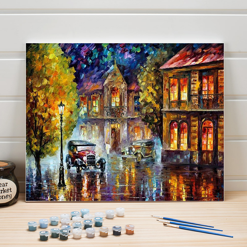 Paint Pictures By Numbers Scenery Acrylic Coloring Art On Canvas Oil Painting Kit For Living Room Wall Decoration Adults Drawing
