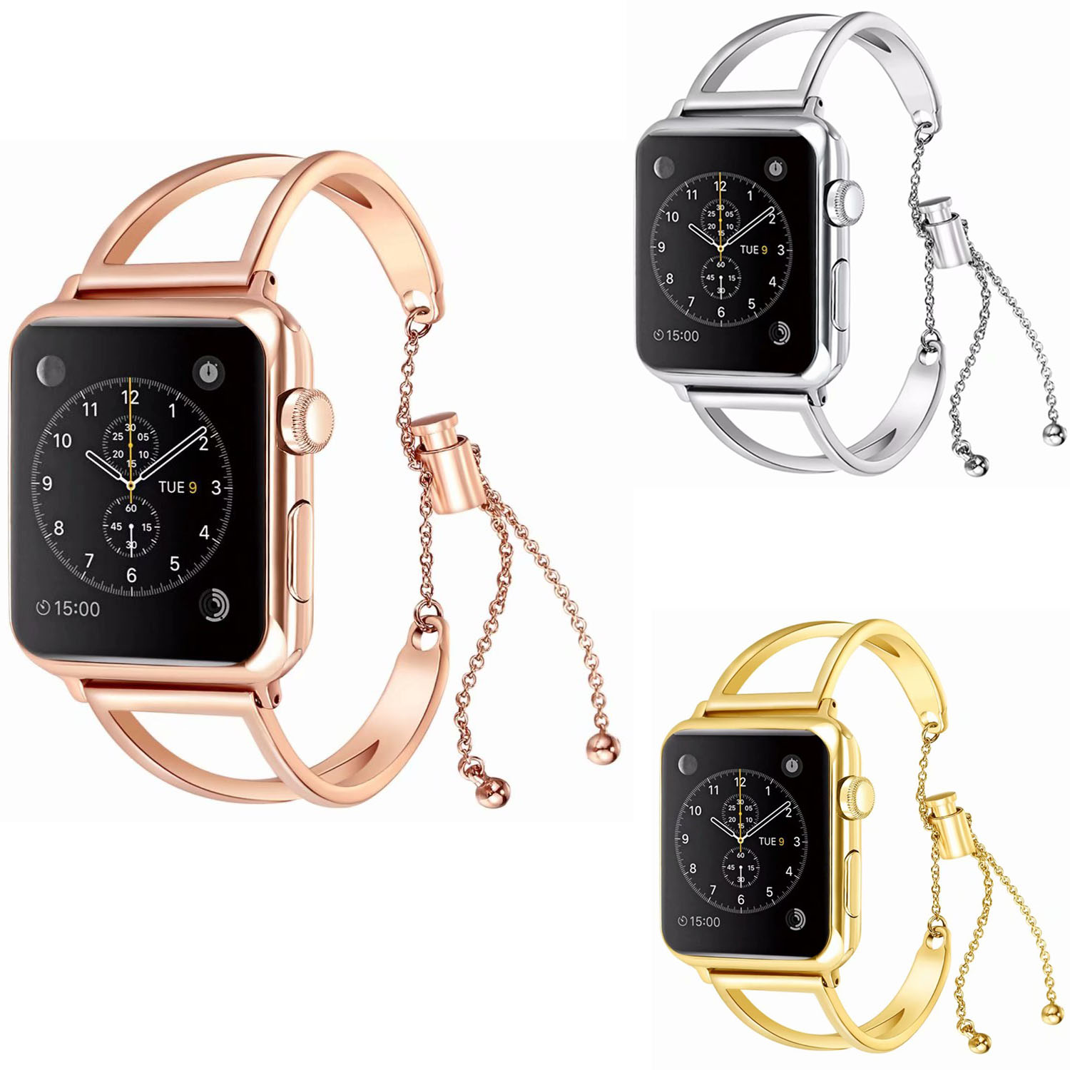Mujeres reloj pulsera para Apple Watch bandas 38mm 42mm ajustable correa de acero inoxidable con colgante para la serie iWatch 3 2 1
