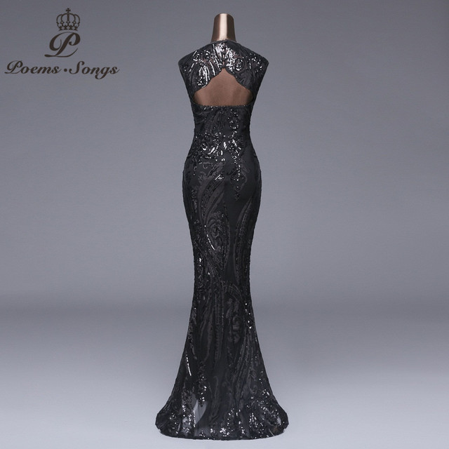 Poems songs Elegant Long black Sequin Evening Dress vestido de festa robe longue prom gowns Formal Party dress reflective dress