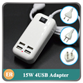 Wall 4 USB Charger 15W 3A Portable Travel Power Adapter For iPhone 6 5S iPad Samsung Charging Device For Xiaomi Nexus