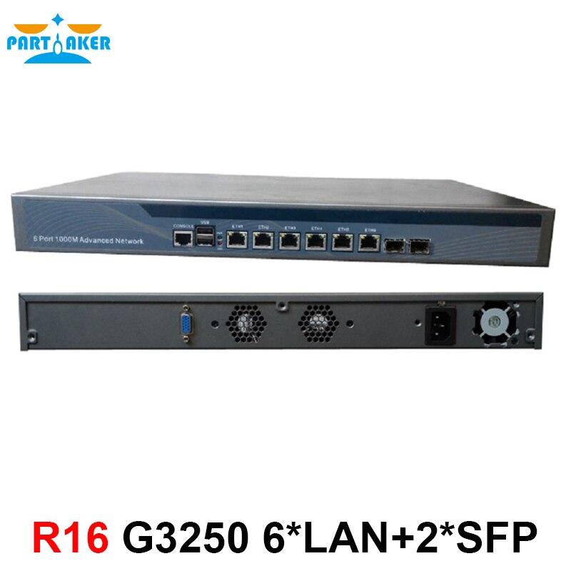 Haut débit Routeur 1U Pare-Feu Réseau avec 6 ports Gigabit lan 2 SFP Intel Pentium G3250 3.2 ghz Mikrotik PFSense ROS etc