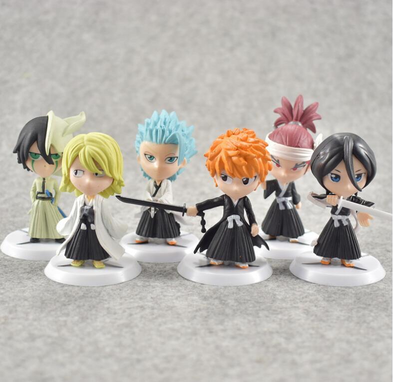 6pcs/set Anime Bleach Ichigo Ulquiorra cifer Renji Ichimaru Gin Toushirou Figures Toys
