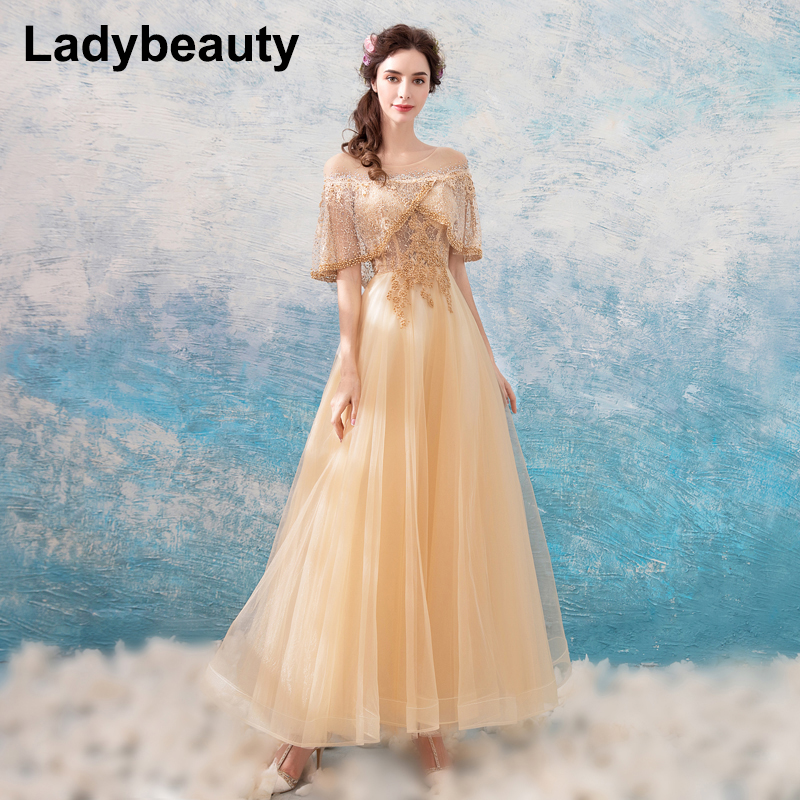 Ladybeauty Beading Long Evening Dress Party Elegant 2018 Vestidos De Festa Vintage Prom Dresses Lace Top Vestidos Longo