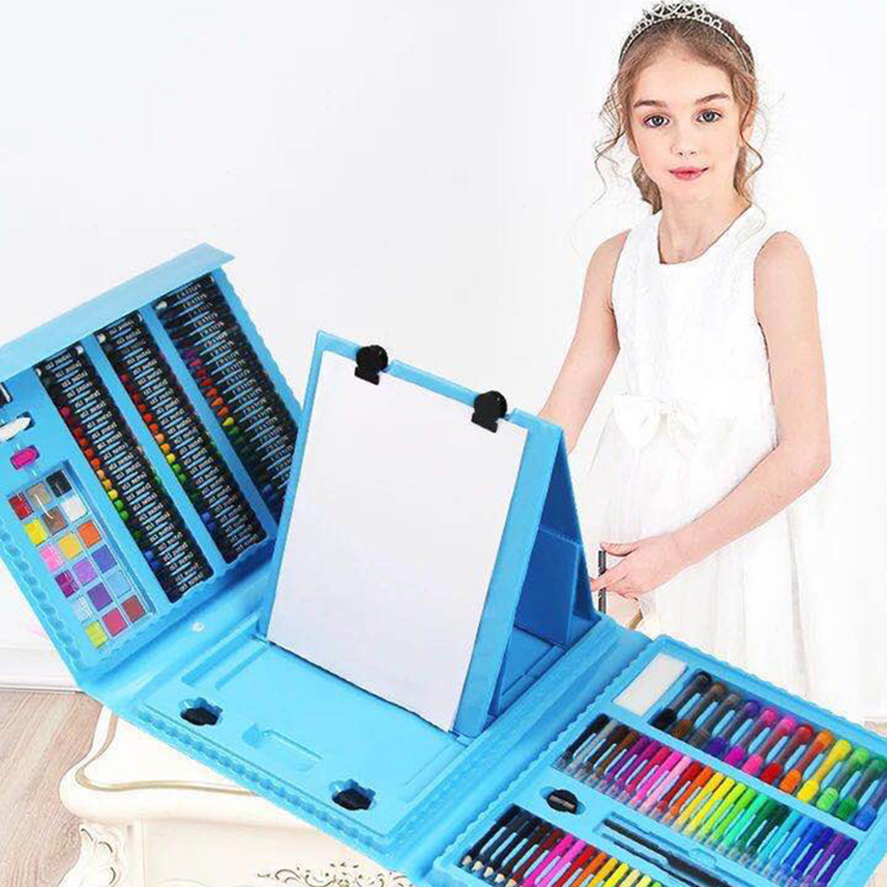 176PCS Creative Painting Graffiti Paint Brush Set Fashion Children Daily Entertainment Toy Art Sets With Easel Gift for Kids-in Drawing Toys from Toys & Hobbies