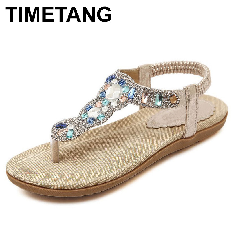 TIMETANG woman t-strap flats wedges flip flops sandals shoe fashion casual elastic band flowers rhinestone sequines leather C044 lanshulan bling glitters slippers 2017 summer flip flops platform shoes woman creepers slip on flats casual wedges gold