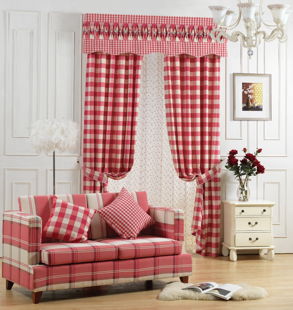 red plaid blackout curtains for living room balcony valance drapes red fabric for curtain blinds. Black Bedroom Furniture Sets. Home Design Ideas
