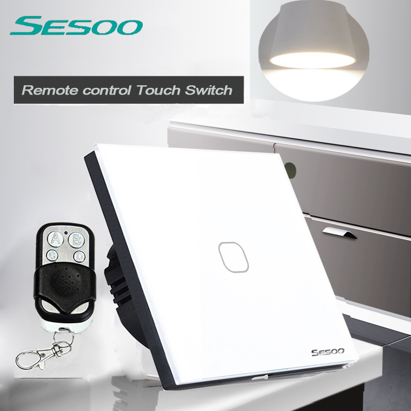 SESOO EU/UK Standard 1 Gang 1 Way Wireless Remote Control Light Switches, Glass Panel Touch Switch, Wall Switch  for Smart Home mvava eu standard 3 gang 1 way remote control light switch golden crystal glass panel touch switch wall switch for smart home