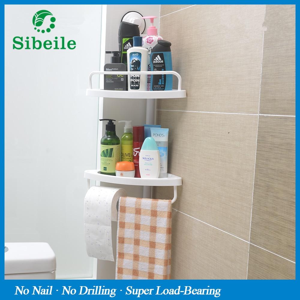 SBLE 2 Tier Bathroom Rack With Towel Rack Bathroom Shelves Hanging Storage  Shampoo Holder Suction Cup Shelf Kitchen Corner Rack In Bathroom Shelves  From ...