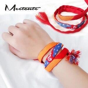 Meetcute Your Name Bracelet Movie Anime Bracelets & Bangles For Women Men Lovers Long Knot Rope Multi-color half-handmad