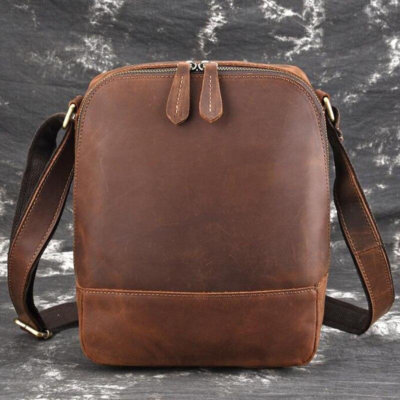 Для мужчин Винтаж Crazy Horse коровьей сумки через плечо мессенджер портфели бренд тренд вертикальный высокое качество Слинг Сумка
