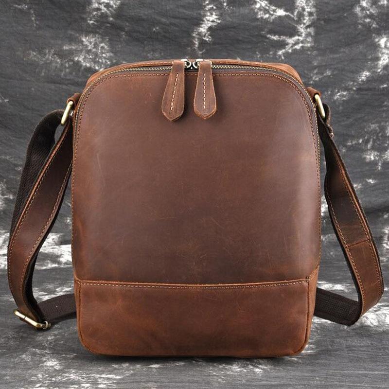 Men Vintage Crazy Horse Cowhide Cross Body Bags Men Messenger Briefcase Brand Trend Vertical High Quality Sling Shoulder Bag