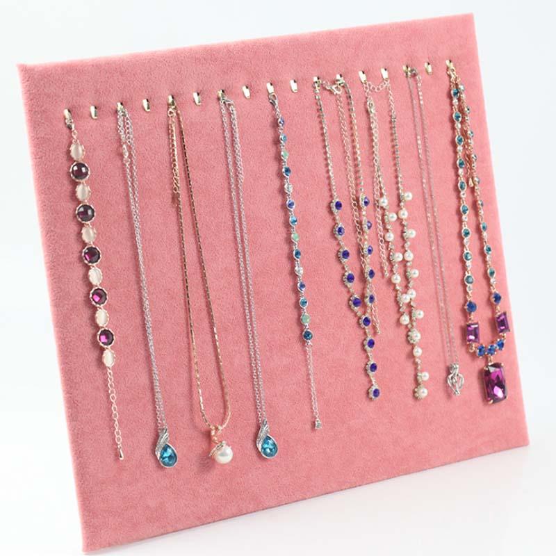 Black/Gray/Burlap/Pink Necklace Pendant Display Stand Women Jewelry Organizer Holder Storage Case Bracelet Display Rack