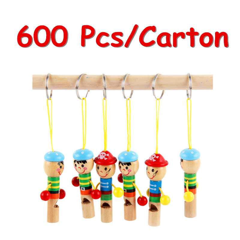 FCL Wholesale Baby Toys Boy Pirate Whistle 600Pcs/Lot Wooden Whistling Educational Toys Child Whistle Child Gift Music new arrival nut assembly tool box 68pcs baby wooden toys child educational garden tool toys nut combination chirstmas gift