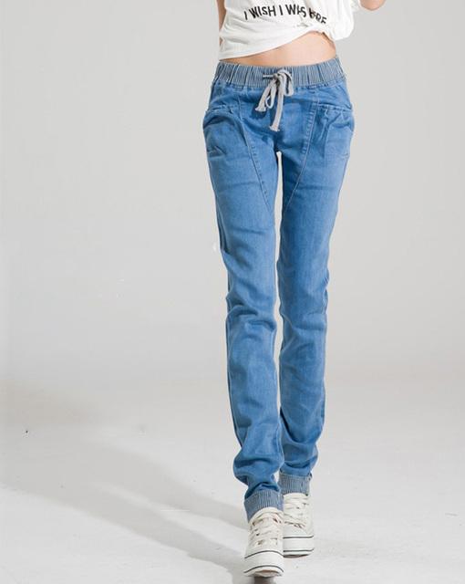 Hot sale!!!Casual Women Elastic Waist Denim Jeans Woman Loose Plus Size Harem Warm Pants 2016 Women Jeans Pants Free Shipping
