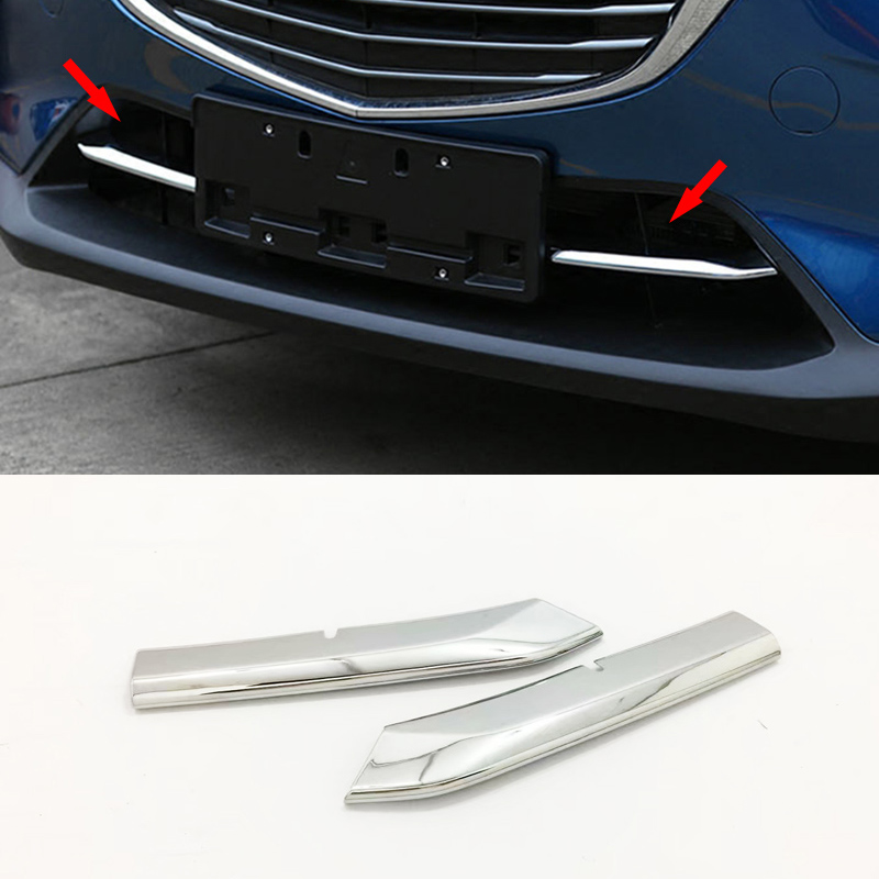 2pcs ABS Chrome Front Grill Cover Trims Strip <font><b>Accessories</b></font> For <font><b>Mazda</b></font> CX-3 <font><b>CX3</b></font> 2016 2017 2018 image