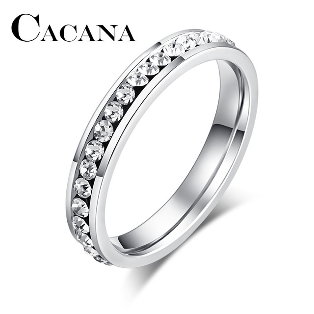 CACANA Titanium Stainless Steel Rings For Women 4mm CZ Surround Fashion Jewelry