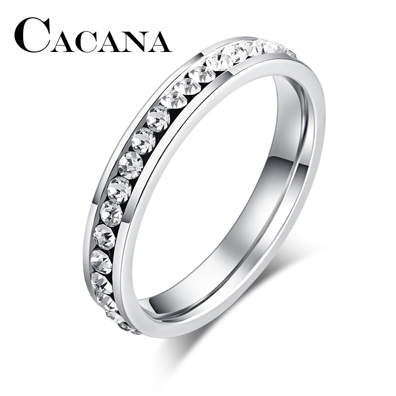 CACANA Titanium Stainless Steel Rings For Women 4mm CZ Surround Fashion Jewelry Wholesale NO.R326