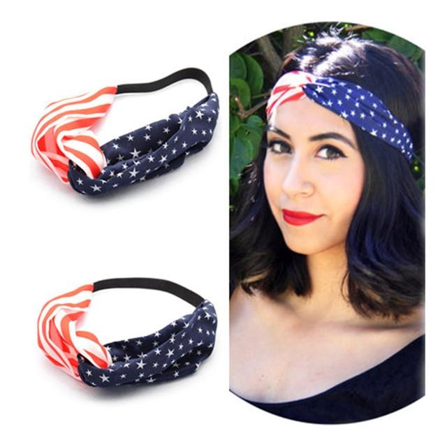 4743e398d42 10Pcs Lot American Flag Turban Headband 4th of July Headbands Women  Headwrap Elastic Hair Bands