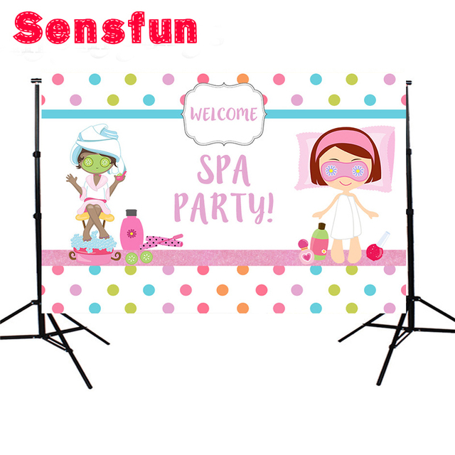 Background For Photography Construction Party Banner Decor Spa Party Backdrop Colorful Polka Dots Photo Studio Props 7x5ft