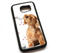 Music Dogs Listening Case Cover, Case For Samsung Galaxy S5 S6 S7 S8 S8 Plus