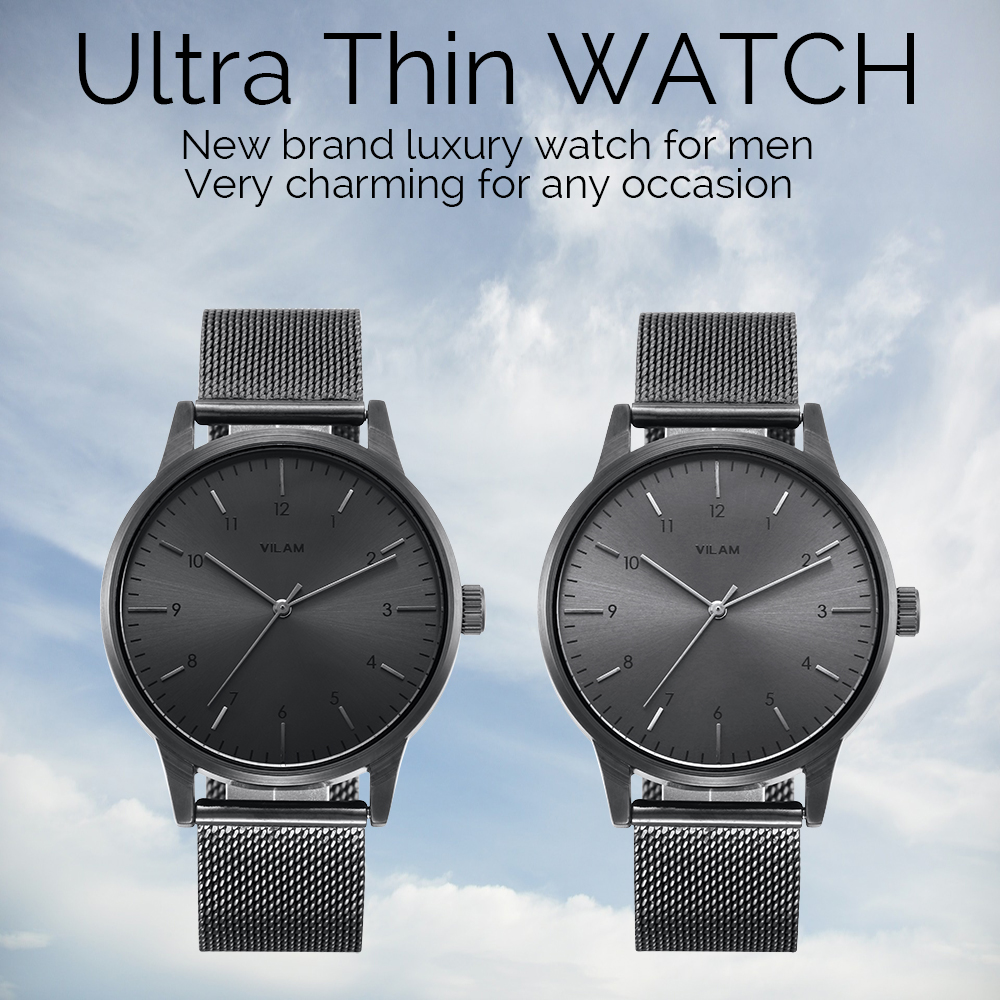Mens Watches Top Brand Luxury Ultra Thin Fashion Business Quartz-watch Stainless Steel Mesh Strap Male Wristwatch Man Gift Clock new fashion men business quartz watches top brand luxury curren mens wrist watch full steel man square watch male clocks relogio