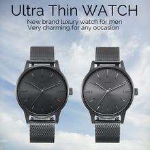 Mens Watches Top Brand Luxury Ultra Thin Fashion Business Quartz-watch Stainless Steel Mesh Strap Male Wristwatch Man Gift Clock