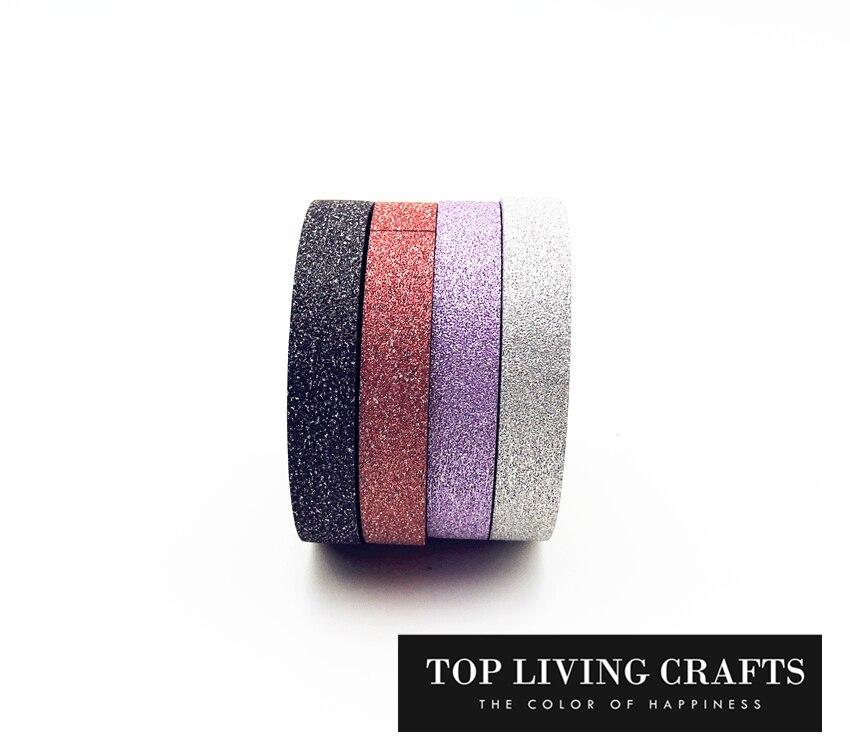 (4pcs/Set) Glitter Washi Tape Set Scrapbooking Decorative Tapes Adhesive Tape Kawai  Adesiva Decorativa School Supplies