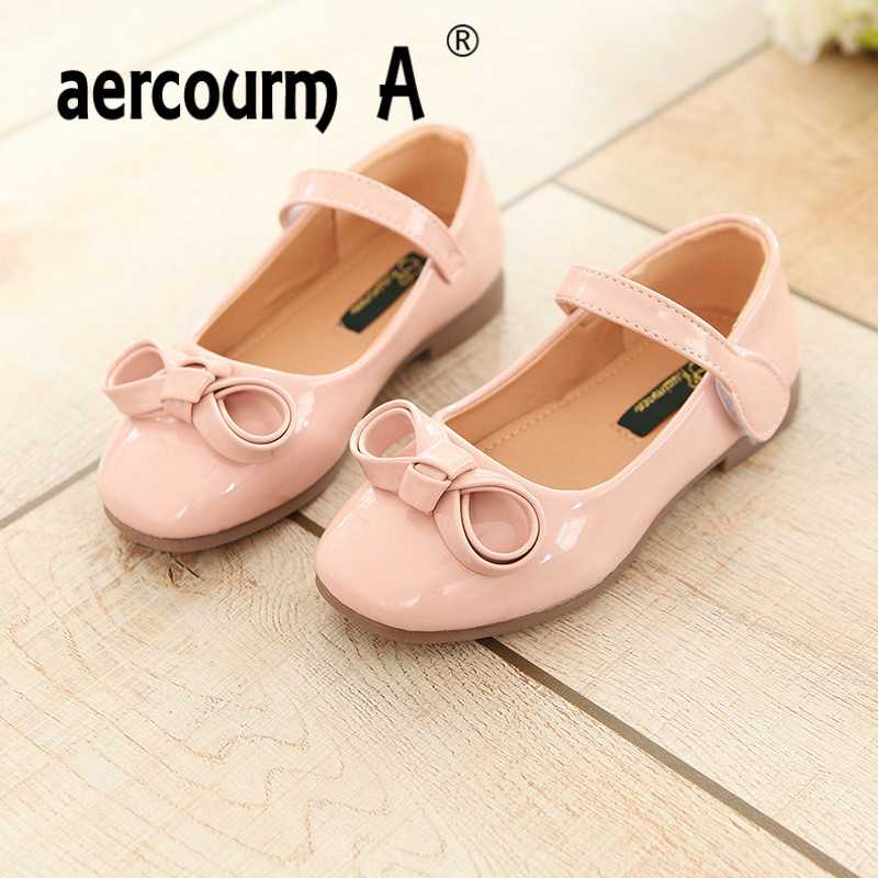 Aercourm A 2018 Girls Princess Shoes Spring New Girls Shallow PU Leather Shoes Children Solid Color Flat Fashion Single Shoes
