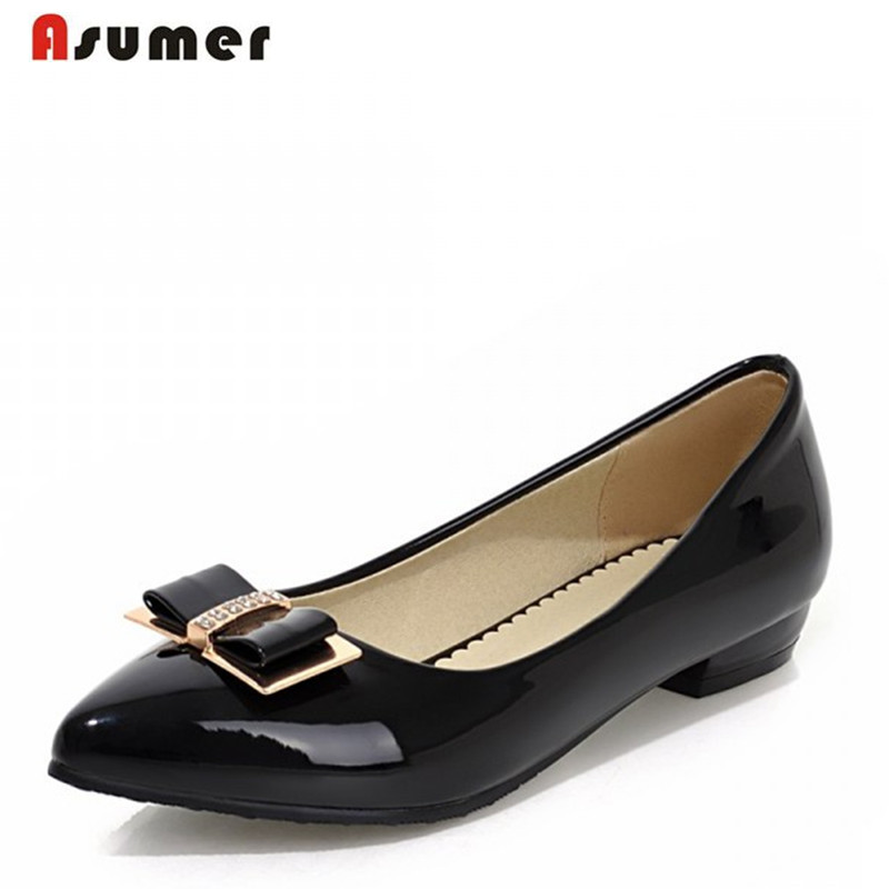 ASUMER Plus size 34-48 Hot pointed toe women pumps high quality soft leather ladies fashion low heels shoes simple comfortable new 2017 spring summer women shoes pointed toe high quality brand fashion womens flats ladies plus size 41 sweet flock t179