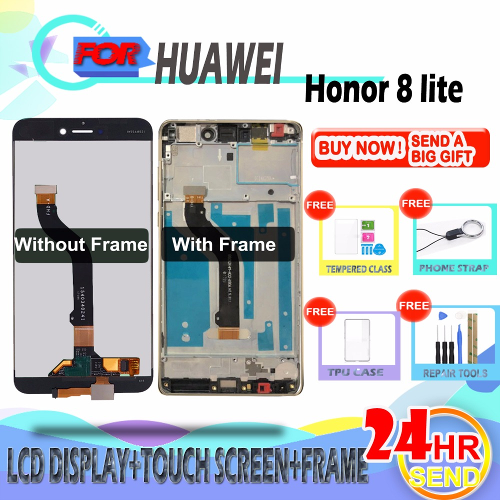 SZHAIYU For Huawei Honor 8 Lite Honor8 Lite PRA-TL10 LCD Display Touch Screen  With Frame Digitizer Glass Panel Replacement