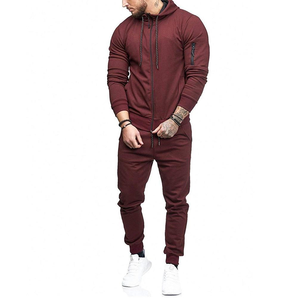 2019 Men's Gym Tracksuit Long Sleeve Hoodie Trouser Set Men Drawstring Jogging Pants Solid Casual Sport Suit For Man D40