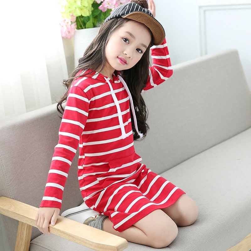 84f39614e079 Fashion Autumn Girl Dress Hooded Long Sleeve Kids Clothes Toddler Casual Children  Clothing Striped Tutu Baby Dresses Girls-in Dresses from Mother   Kids on  ...