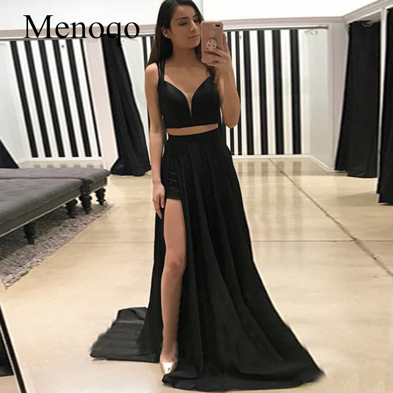Menoqo Two Piece   Prom     Dress   2019 Hot Sale Black Color Straps Evening Gowns Split Formal Party   Dresses   Robes