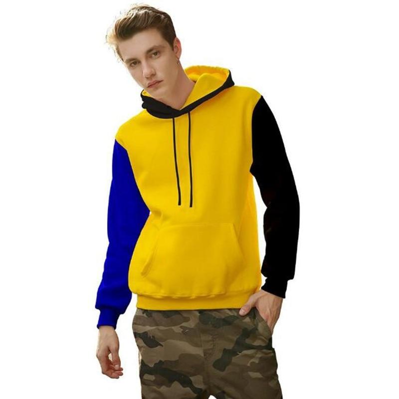 Mens Hip Hop Tasca Camicie Casual Moda Streetwear hoody degli uomini 2018 colori Patchwork Pullover Manica Lunga Felpe Camicie