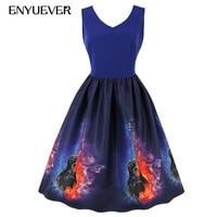 Enyuever Women Vintage Dress 2018 Blue Summer Casual Music Guitar Print Retro 50s Midi Sleeveless Elegant Party Dress Plus Size