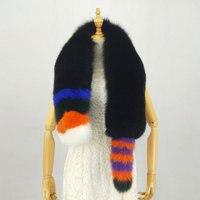 135 см зимний Полный Пелт натуральный Лисий мех шарф с большим хвостом, Женский Лисий меховой для шеи теплые длинные меховые шарфы в полоску б