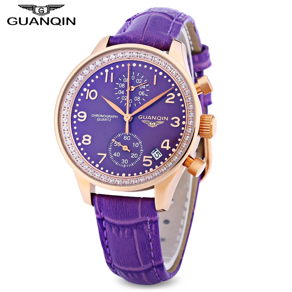 GUANQIN Women Quartz Watch Date Chronograph Display Sapphire Mirror Wristwatch seiko watch premier series sapphire chronograph quartz men s watch snde23p1