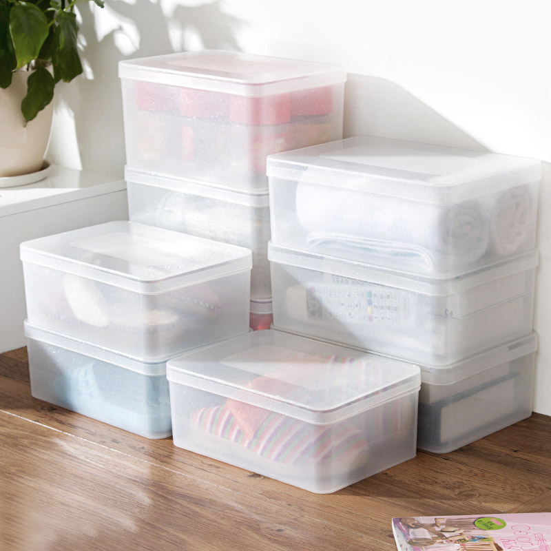 Transparent Plastic Cover Can Be Superimposed Clothes Storage Box Desktop Cosmetic Storage Box Kitchen Rectangular Storage Box