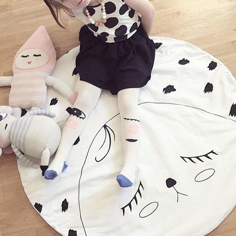 Mignon visage conception enfants rembourré tapis de jeu tapis pépinière bébé literie couverture ronde ramper tapis coton enfants chambre tapis de sol