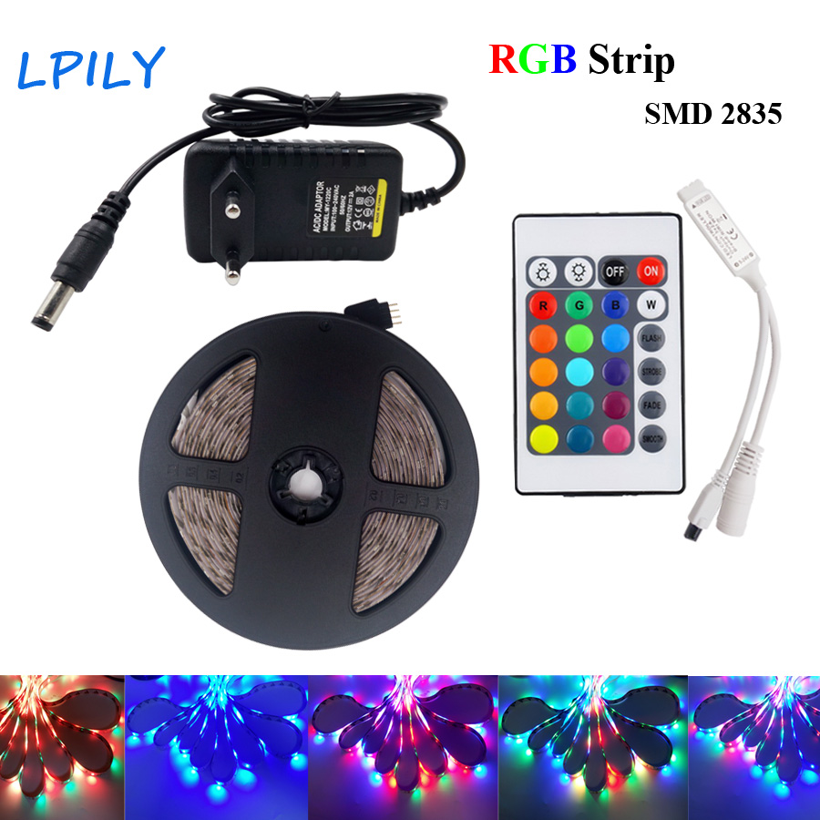 RGB LED Strip Light 5m 10m 2835 3528 diode led tape ribbon DC12V RGB LED Strip Waterproof set with Remote Controller and Adapter 10m 5m 3528 5050 rgb led strip light non waterproof led light 10m flexible rgb diode led tape set remote control power adapter
