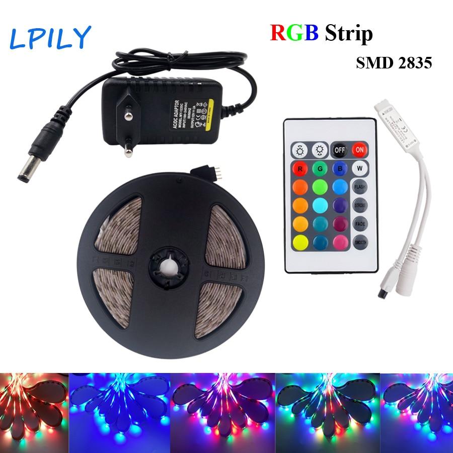 Striscia di RGB Led 5 m 10 m 2835 3528 diodo led nastro nastro DC12V RGB HA CONDOTTO La Striscia Impermeabile set con Telecomando e adattatore