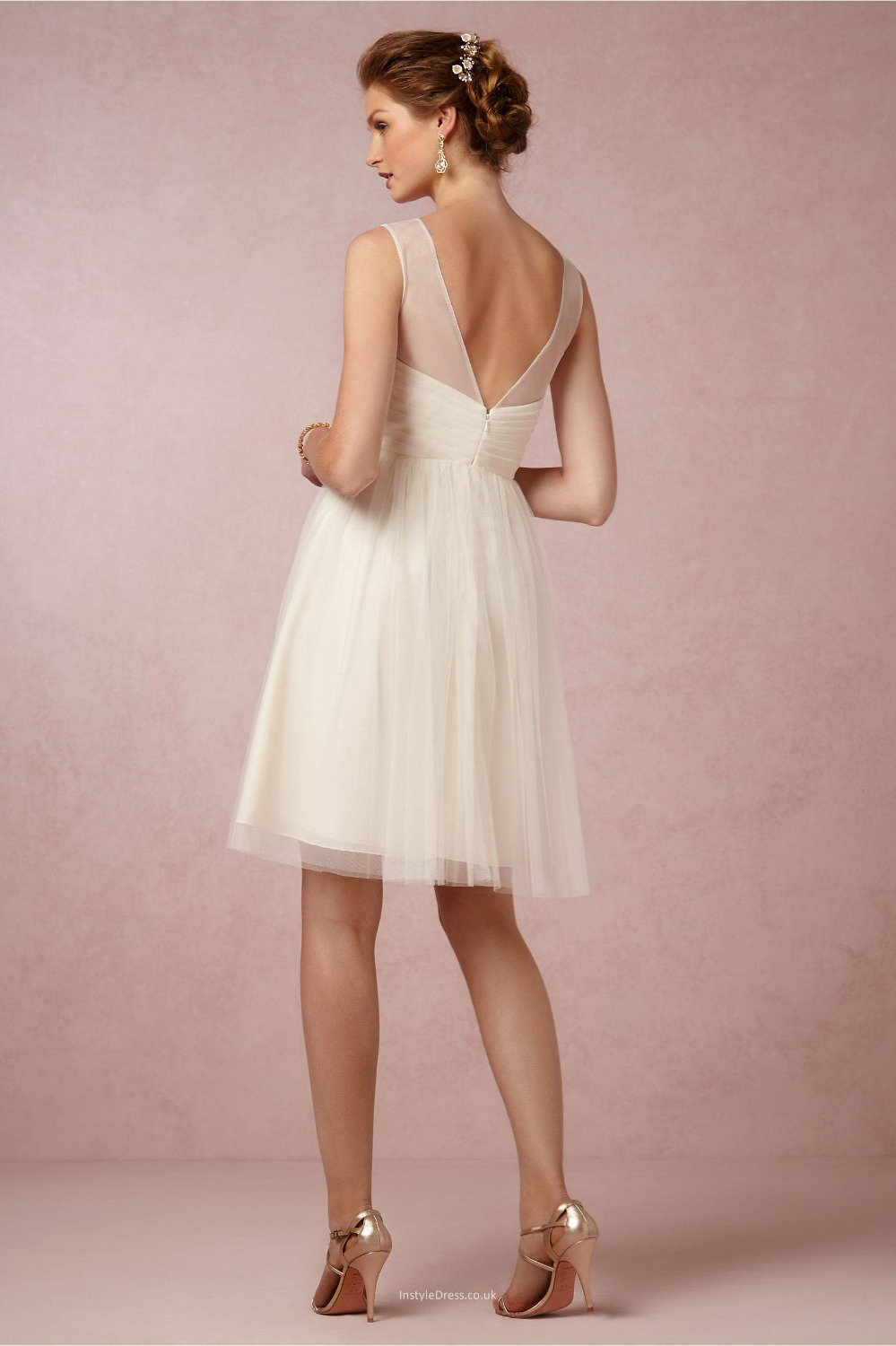 Elegant Short Knee Length A Line Cream Tulle Bridesmaid Dress Robe ...
