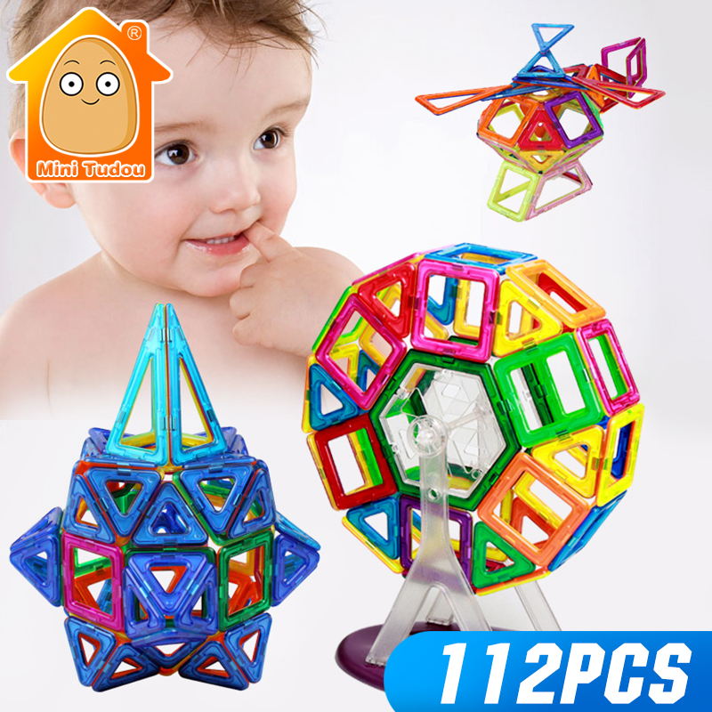 MiniTudou 112PCS Magnetic Blocks Enlighten Construction Designer 3D DIY Magnetic Building Blocks Educational Toy For Children