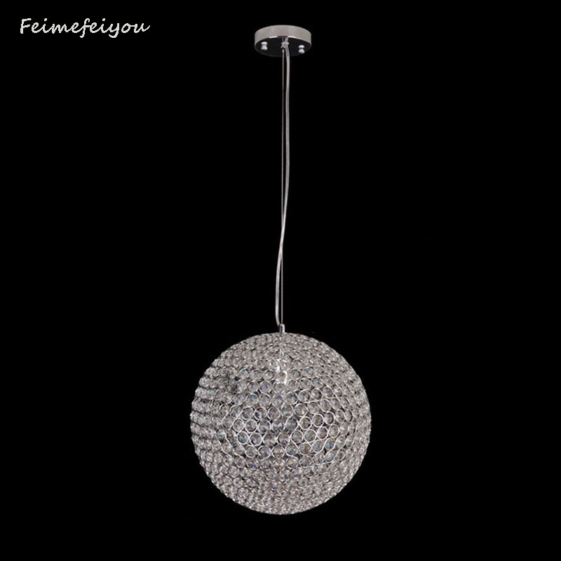 Feimefeiyou Modern LED Crystal ball shaped Chandelier Lights Lamp For Living Room Cristal Lustre Chandeliers Pendant Fixtures modern lustre crystal led chandelier lighting chrome metal living room led pendant chandeliers light led hanging lights fixtures