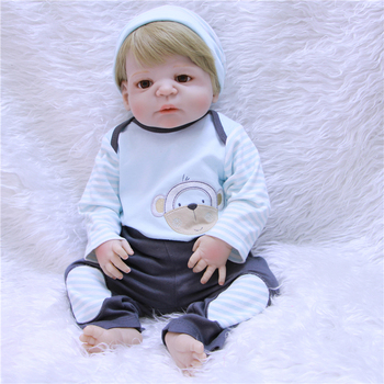 57 cm Full Silicone Reborn Dolls Kids Playmate 23 Inch Realistic Baby Dolls For Sale Bebe  Reborn menino Toy Xmas Gifts For Boy
