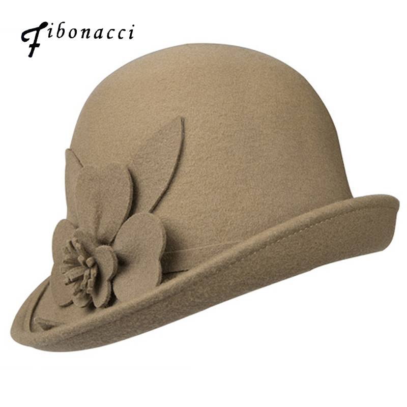 Fibonacci Autumn Winter Trilby Hat Female Irregular Brim Fedoras Wool Felt Dome Floral Bowler Women Fedora Hats