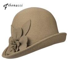 Fibonacci Autumn Winter Trilby Hat Female Irregular Brim Fedoras Wool Felt Dome Floral Bowler Women Fedora Hats