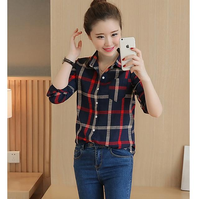 13c6658cdf48e0 blouses women plaid shirt Flannel Shirt Women Red Ladies Top Chemise Cotton Plaid  Shirt Women Tops Casual Blouse Shirt Plus Size