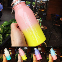 JOUDOO Cute Rainbow Candy Color Thermos 300ml 500ml Stainless Steel Vacuum Flask Belly Cup Tea Coffee